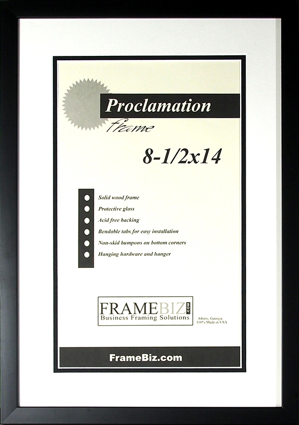 NEW Classic Black Matted Proclamation Frame
